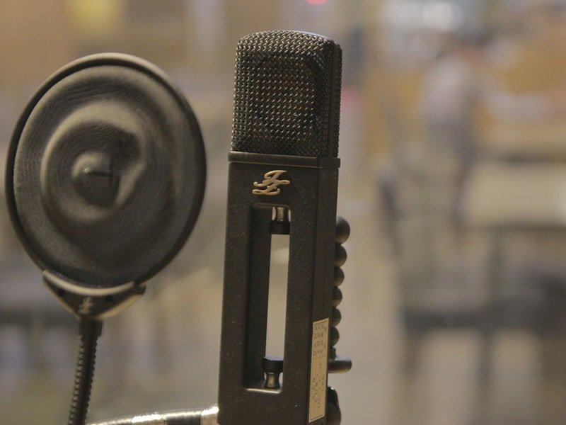 Podcast microphone and baffle