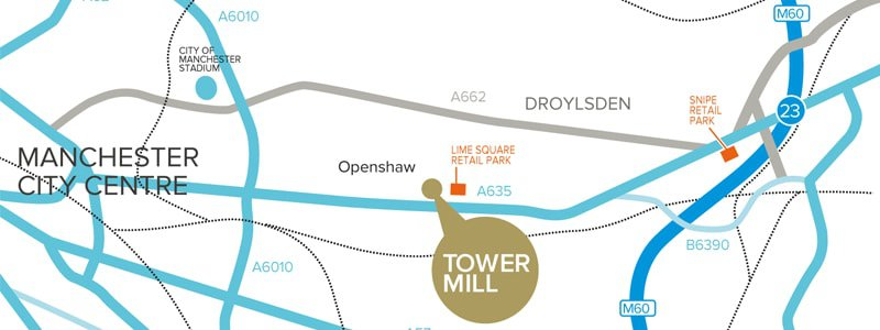 Seneca Property Greater Manchester – Tower Mill map