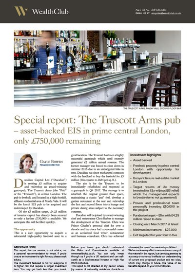 Truscott Arms Pub research report